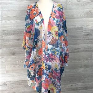 Sheer Floral Open Kimono Cover Up Summer Romantic